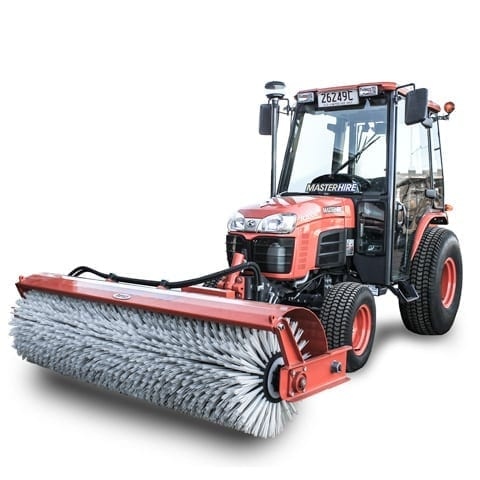 Tractor with Broom Attachment