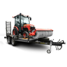 Tractor with Broom Attachment on Trailer