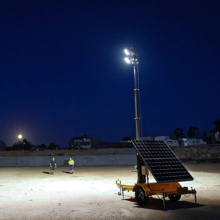 Solar Powered Lighting Tower at Night
