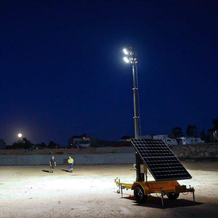 Solar Powered Lighting Tower at Night