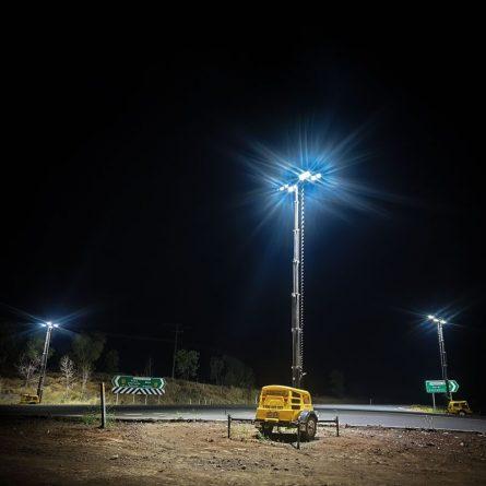 Master Hire METRO-LED Lighting Towers at Night