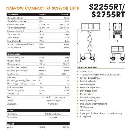 27ft Scissor Lifts - Narrow Specs and Flight Path